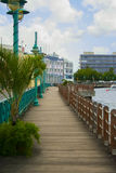 The Careenage Boardwalk by the sea in Bridgetown, Barbados Royalty Free Stock Images