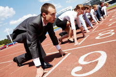 Career. Row of business people getting ready for race Stock Photography