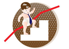 Career. A baby climbs up the ladder Stock Photography