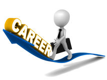 Career. Growth concept, word  on a rising arrow with a little 3d man walking on it, white background Stock Photos