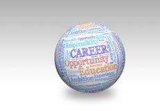 Career 3d. Career in word cloud on 3d sphere Stock Images