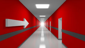 Career abstract 3d metaphor illustration. Red office corridor interior with white arrow stock illustration