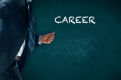 Career acceleration. Concept, personal development, personal and professional growth. Businessman hurry to improve his career stock photography