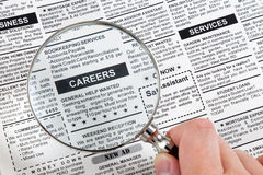 Career Ad. Fake Classified Ad, newspaper, business concept Royalty Free Stock Photos