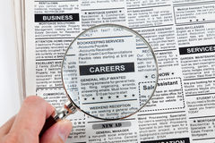 Career Ad. Fake Classified Ad, newspaper, business concept Stock Photography