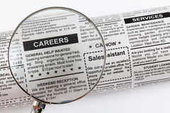 Career Ad. Fake Classified Ad, newspaper, business concept Royalty Free Stock Photography