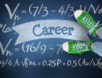 Career against blue chalkboard Royalty Free Stock Photos