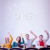 Career against college students raising hands in the classroom Stock Image