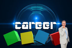 Career against futuristic glowing black background Royalty Free Stock Photo