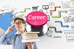 Career against pink push button Stock Photography