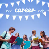 Career against students standing and chatting together Royalty Free Stock Photo