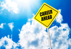 Career ahead message on road sign Stock Photography