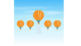 Career Balloon. Air balloons as one individual winner 3D illustration elements Royalty Free Stock Image