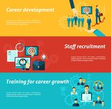 Career Banner Set. Career development horizontal banner set with staff recruitment business training elements  vector illustration Stock Image