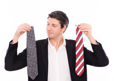 Career beginner. Career starting man decide choosing cravat for application stock photography