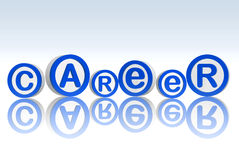 Career in blue circles. 3d blue white circles with text career Stock Photography