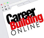 Career Building Online Website Job Seeking Classified. Career Building Online words on a website screen or internet resource for finding a job with classified Stock Photography