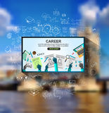 Career in Business concept  with Doodle design style :people inteview. Skill testing, clear selection. Modern style illustration for web banners, brochure and Royalty Free Stock Images