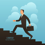 Career business conceptual illustration with businessman going upstairs. Image for web sites, articles, magazines Royalty Free Stock Image