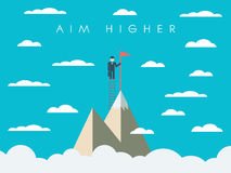 Career or business mission motivation poster. Wallpaper, background. Businessman on ladder, mountain top, symbol of success. Eps10 vector illustration Stock Photo