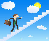 Career businessman. Succesfull businessman in the sky. Career and growth Royalty Free Stock Photos