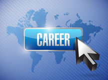 Career button and world map illustration Stock Photos