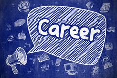 Career - Cartoon Illustration on Blue Chalkboard. Royalty Free Stock Images