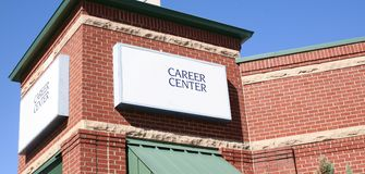 Career Center. The Career center provides a place for people to search and apply or employment online Stock Photo