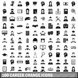 100 career change icons set, simple style Royalty Free Stock Photography