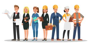 Free Career Characters Design. Include Waiter, Businesswoman, Engineer, Doctor Royalty Free Stock Photo - 134261105