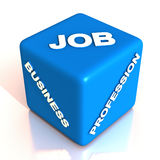 Career choice. Choosing your career on a job, business or profession, is a difficult task, words on a dice showing element of chance or luck in your choice vector illustration