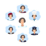 Career choice concept. Young girl choose a profession. Illustration in flat style. Stock Photos