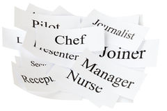 Career Choices in a Pile. A pile of words, career choices, isolated on white Stock Photography