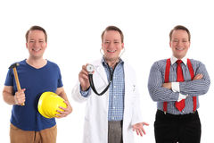 Career choices. The same guy as a builder, physician and businessman for concepts like different careers or education paths - retouched and isolated on white Royalty Free Stock Photos