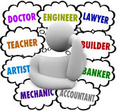 Career Choices Thought Clouds Thinker Wondering Occupation. A thinker surrounded by thought clouds full of job ideas such as teacher, lawyer, mechanic royalty free illustration
