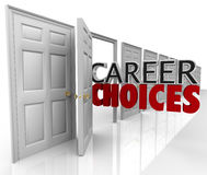 Career Choices Words Many Doors Opportunities Jobs. The words Career Choices coming out of an open door to represent opportunities and options in choosing your royalty free illustration
