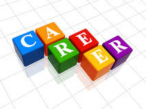 Career in colour 2. 3d colour boxes with text - career, word Royalty Free Stock Images