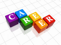 Career in colour. 3d colour boxes with text - career, word Stock Photo