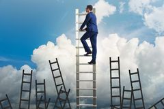 The career concept with businessman climbing ladder Stock Photos