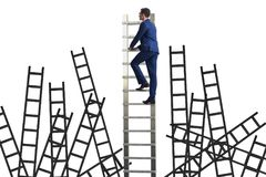 The career concept with businessman climbing ladder Royalty Free Stock Photos