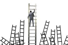 The career concept with businessman climbing ladder Royalty Free Stock Photo