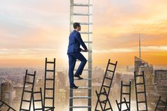 The career concept with businessman climbing ladder Stock Image