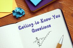 Career concept about Getting-to-Know-You Questions with sign on the page