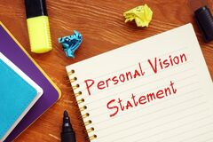 Career concept about Personal Vision Statement with sign on the page