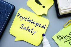 Career concept about Psychological Safety with sign on the page