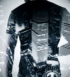 Career concept. Thoughtful man on bright night city background. Career concept. Double exposure Stock Photos