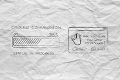 Career conversion progress bar loading & pop-up are you sure Royalty Free Stock Image