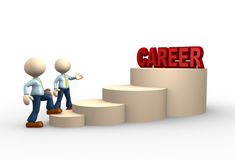 Career. 3d people - man, person climbs the ladder of career Stock Image