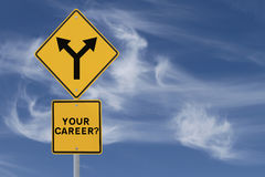 Career Decision. Road sign on the need for a career direction or decision (on a blue sky background with copy space stock images