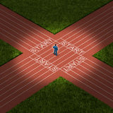 Career Decision. Business strategy concept as a businessman standing on a track and field that has multiple paths to a future opportunities as a metaphor for stock illustration